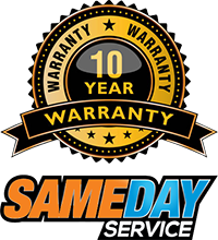 10 year warranty with same day service